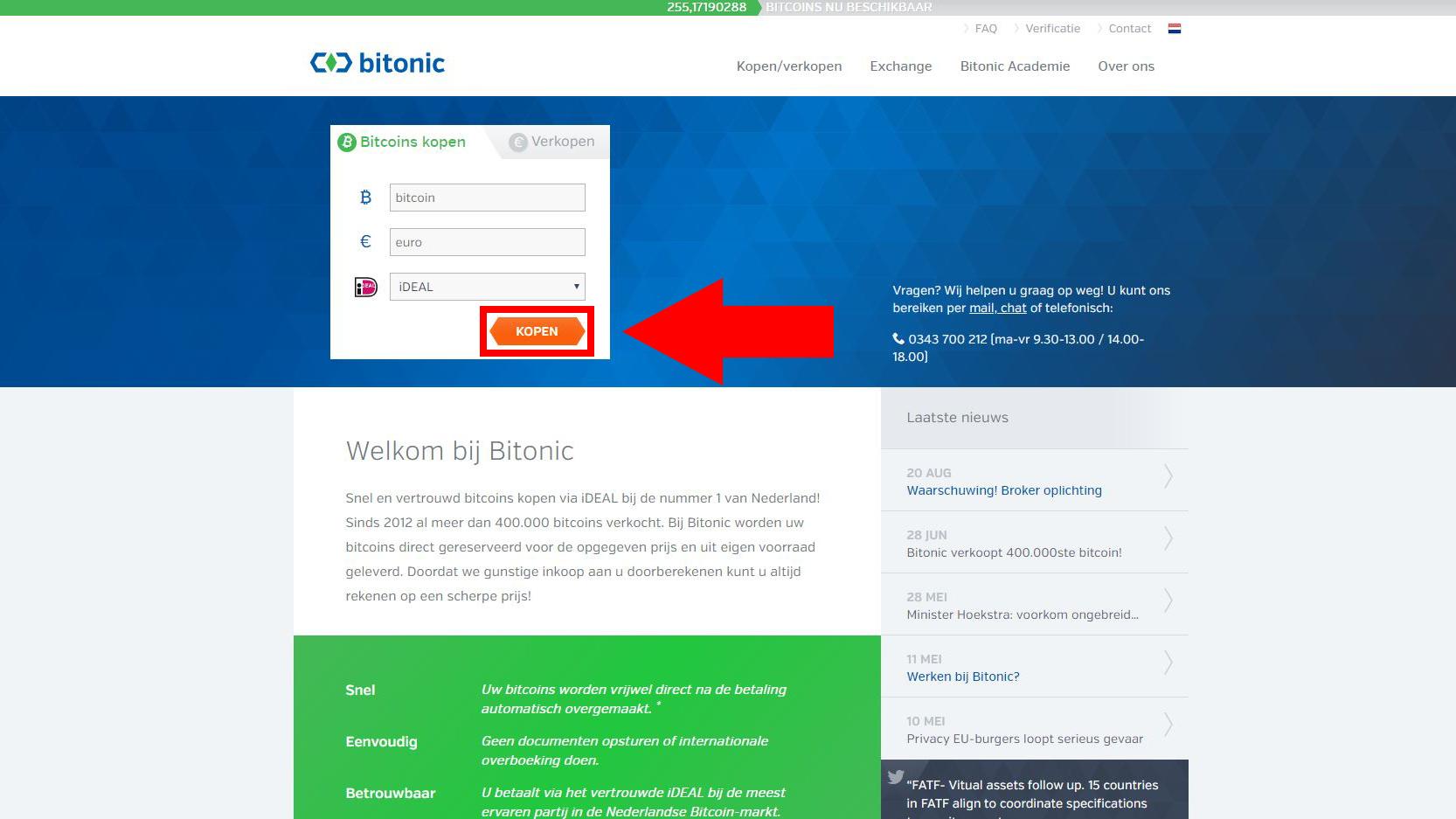 Bitonic website voor het kopen van Bitcoin met iDEAL