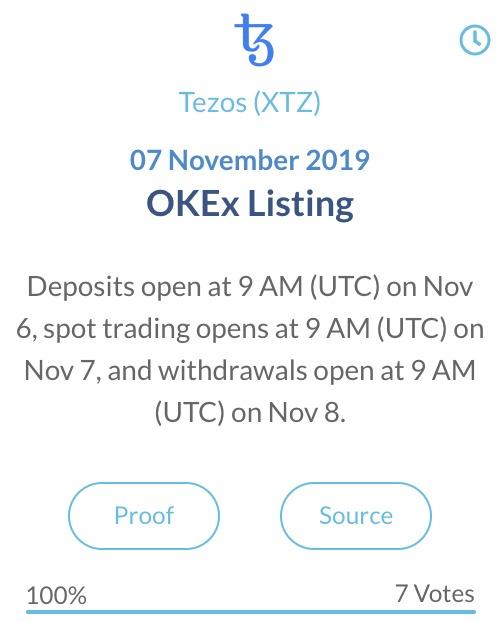 Tezos OKEx Listing